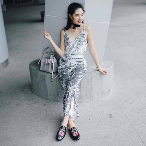 Jumpsuit Tumblr Grey Silver Velvet Velvet Jumpsuit Black