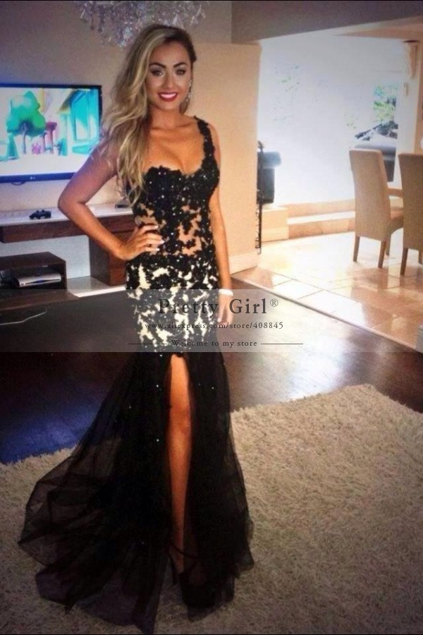 Aliexpress.com : buy free shipping fashion black mermaid party evening dresses sexy see through one shoulder appliques slit prom dress vestido longo from reliable dress winter suppliers on pretty girl trade co., ltd