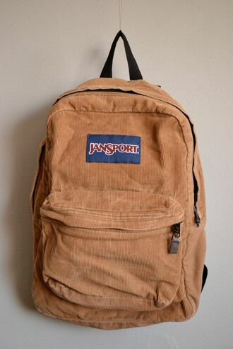 bag tan corduroy backpack jansport vintage