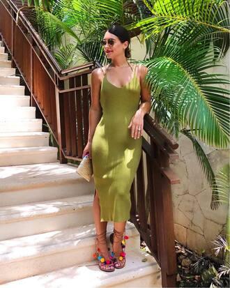 dress tumblr midi dress green dress sandals flat sandals pom poms knitted dress sunglasses shoes