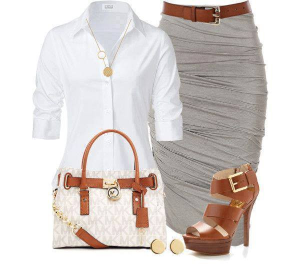 skirt clothes shirt bag shoes blouse polyvore outfit michael kors bag office outfits