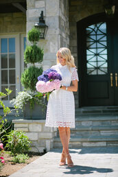 ivory lane,blogger,dress,shoes,jewels,white dress,lace dress,mini dress,sandals,sandal heels,eyelet dress,eyelet detail