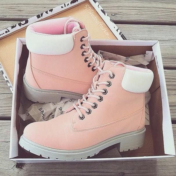 Shoes Pink Timerland Pastel Timberlands Wheretoget