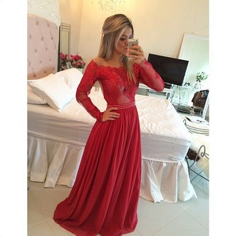 dress lace long gown prom red dress off the shoulder see through