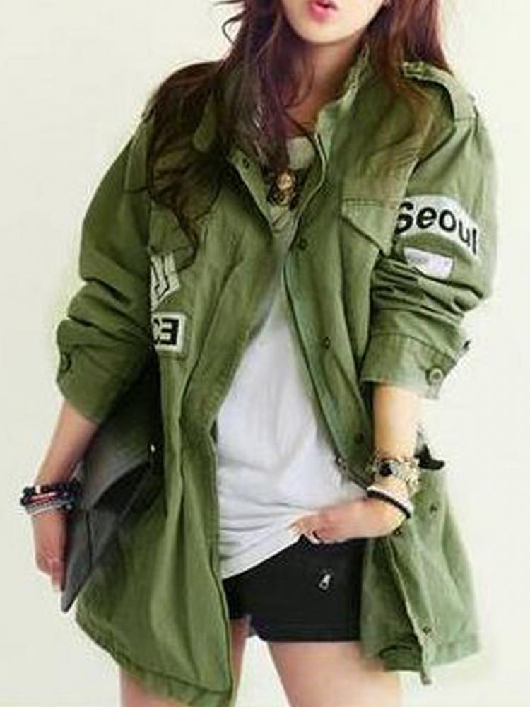 Military Parka Coat With Letter Pattern | Choies