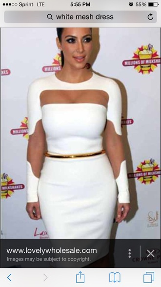 dress gold belt white dress kim kardashian dress mesh dress