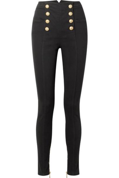 Balmain - Button-embellished High-rise Skinny Jeans - Black