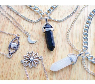 jewels jewelry crystal quartz crystal silver chain silver chain boho moon necklace bracelets