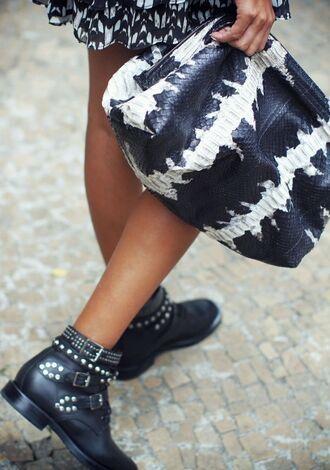 bag clutch oversized clutch black and white elizabeth weinstock snake snake skin leather
