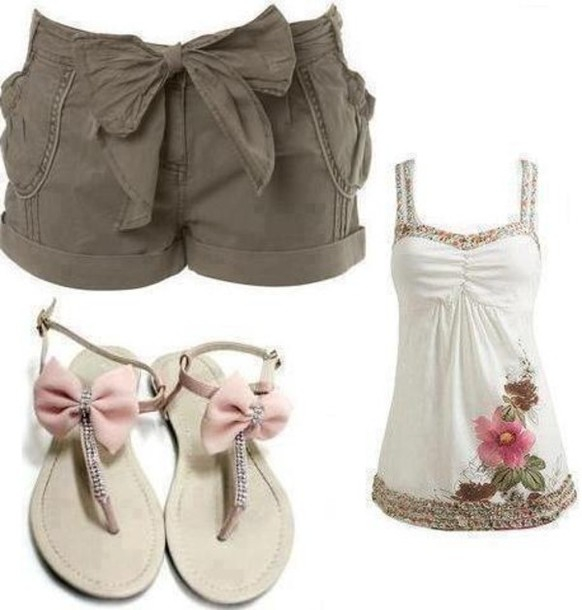 shirt shorts white tank top bow flats cute outfits tank top shoes blouse clothes pants