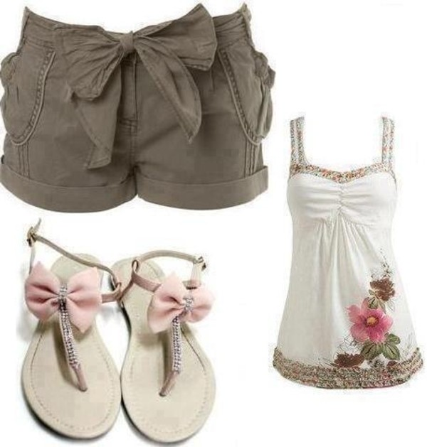 shirt shorts white tank top bow flats cute outfits tank top shoes blouse