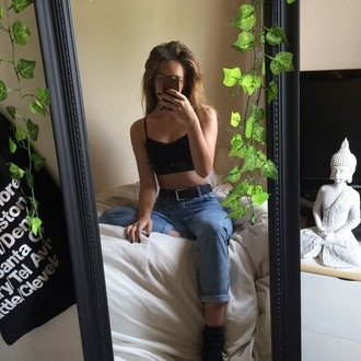 black tank top black crop top jeans belt