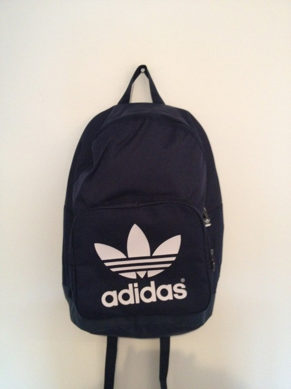 a6859601f2 Adidas Backpack Classic Tricot Black White Trefoil Logo Daypack ...