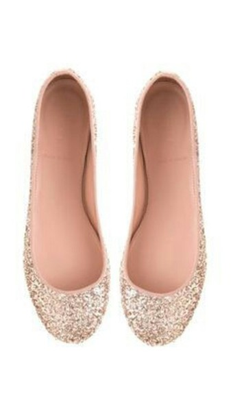 shoes, sequin flats, rose gold, sparkle
