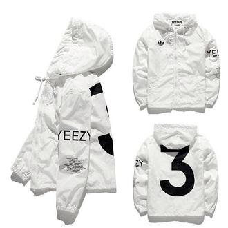 jacket yeezy kanye west white windbreaker coat yeezus yeezyboost