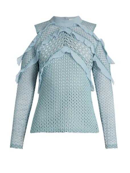 self-portrait top cut-out shoulder top cut-out lace knit light blue light blue