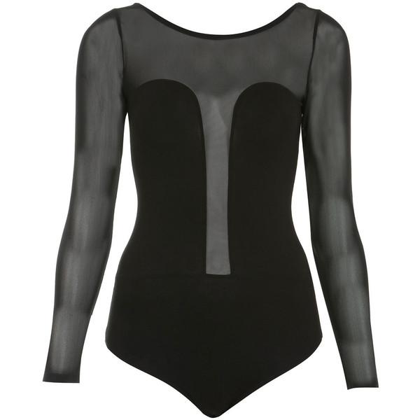 Longsleeve Mesh Panel Bodysuit - Miss Selfridge - Polyvore