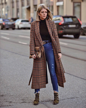 coat tumblr plaid plaid coat brown coat long coat top black top denim jeans blue jeans boots ankle boots
