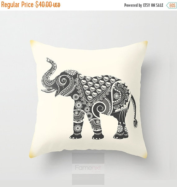15 Inch Throw Pillow Covers : Flat 15% OFF SALE Elephant Throw Pillow Cover. Decorative Mandala Pillow Cover. 18 inch. Double ...
