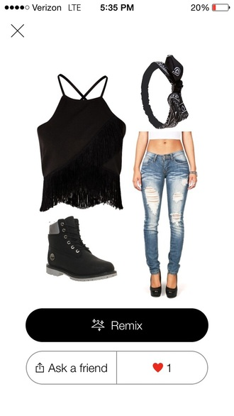 jeans outfit pants crop tops timberlands shirt hat