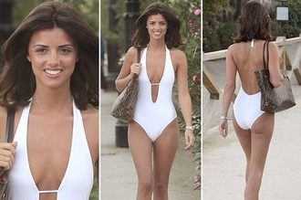 swimwear lucy meck lucy mecklenburgh white halterneck one peice swimming costume low back backless plunge plunge v neck
