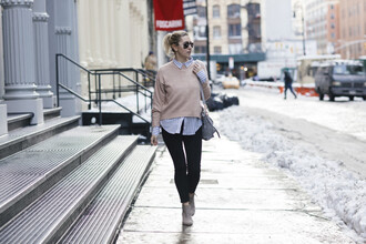 my style pill blogger sunglasses sweater shirt jeans bag shoes winter outfits beige sweater ankle boots shoulder bag