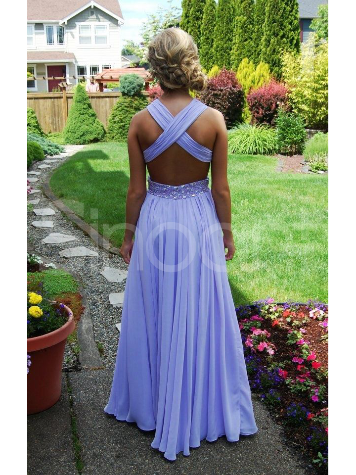 Buy Exquisite Beaded A-line Straps Cross-back Floor Length Prom Dress/Wedding Party Dress under 200-SinoAnt.com