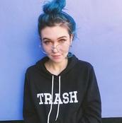 sweater,jessiepaege,black,blue,trash,hoodie