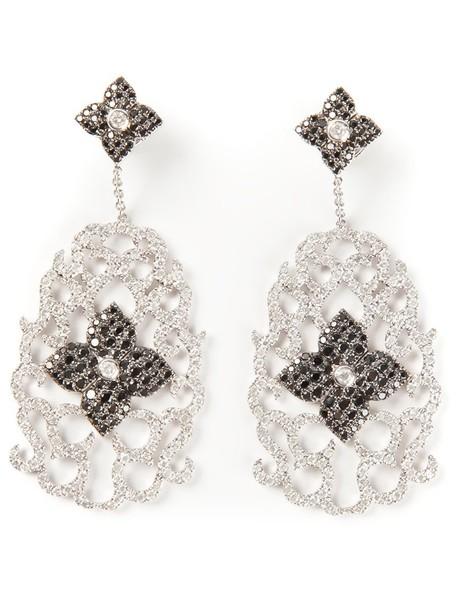 women earrings gold floral white grey metallic jewels
