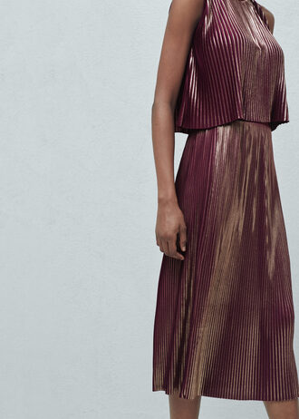 skirt mango pleated skirt metallic metallic skirt winter skirt burgundy skirt burgundy gold midi skirt metallic pleated skirt