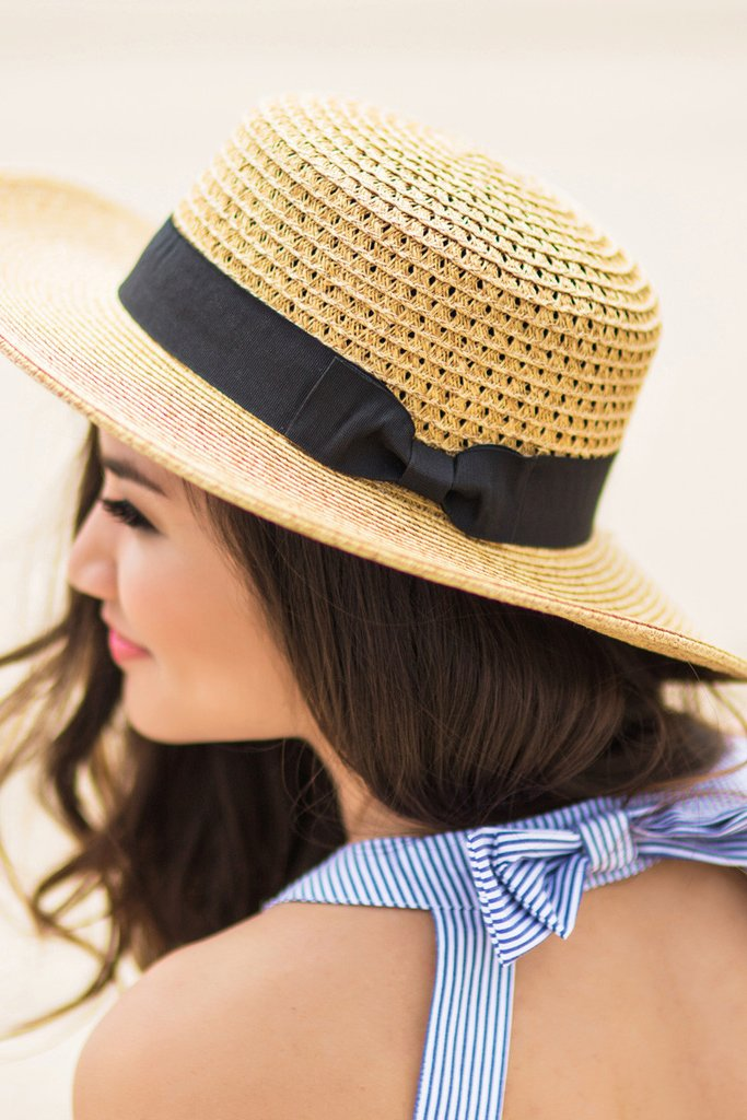 Julia Wide Straw Boater Hat - Morning Lavender