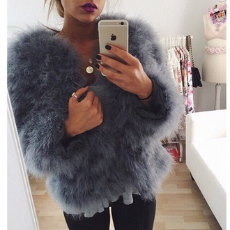 coat blue coat fuzzy coat jacket love grey fourrure veste