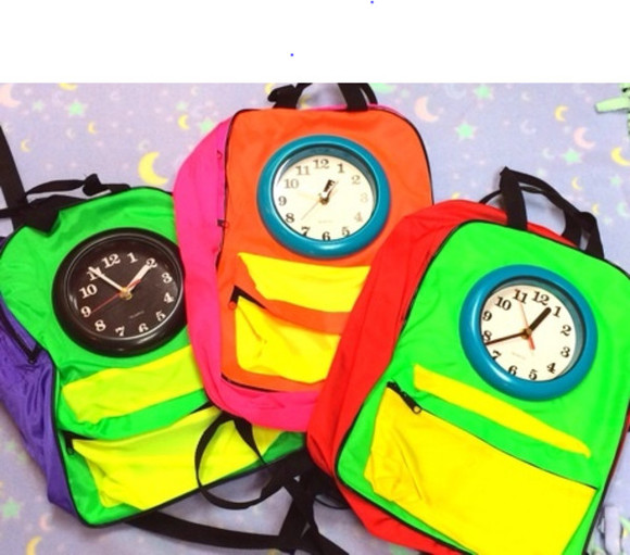 watch clock bag backpack colorful neon 80's