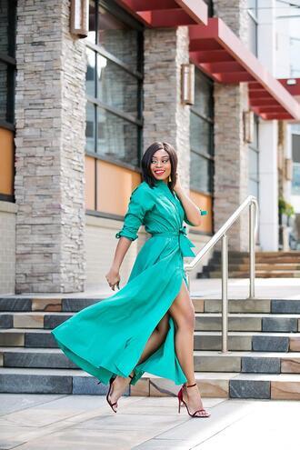 jadore-fashion blogger shoes jewels make-up belt sandals high heel sandals green dress maxi dress spring outfits