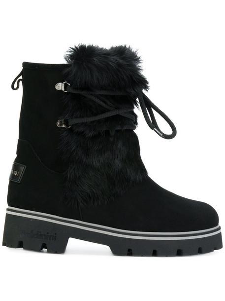 Baldinini fur boots fur women lace suede black shoes
