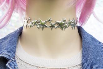 jewels choker necklace galaxy print pastel grunge kawaii tumblr star choker space grunge