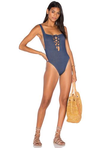one piece swimsuit blue swimwear
