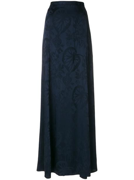 Temperley London skirt slit skirt women slit spandex blue silk