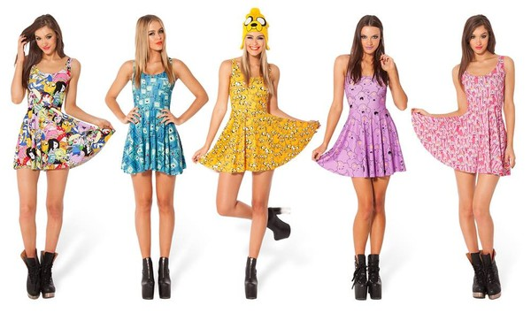 Dress Adventure Time Lsp Princess Bubblegum Finn Jake Purple Yellow Blue Cartoon Cute