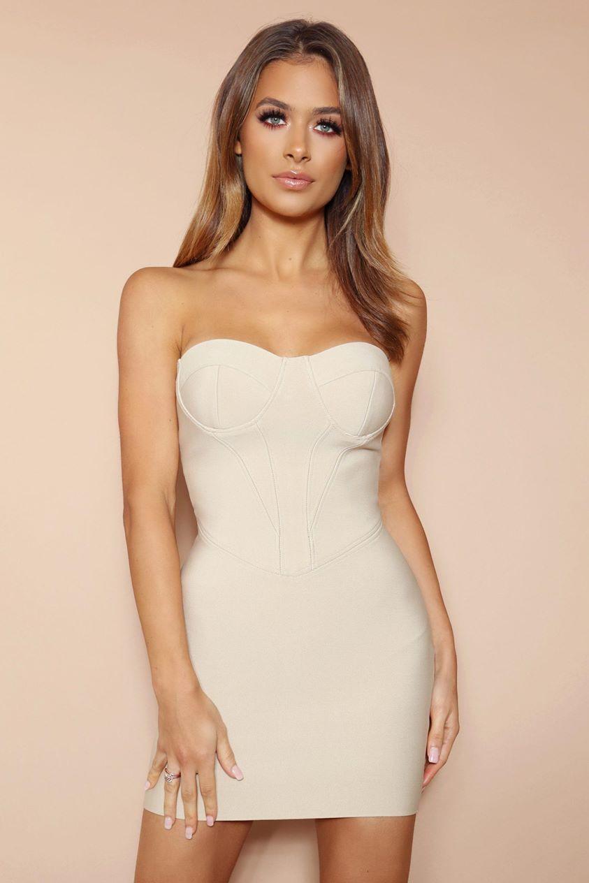 The Titania Beige Bandage Mini Dress