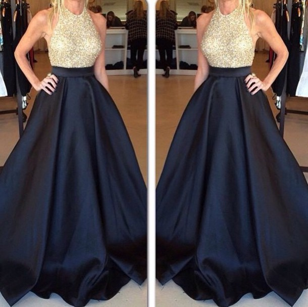 dress black gold prom dress grad dress black dress gold dress gold sequins long dress long prom dress prom halter top halter dress sleeveless dress black gown gold gown pretty elegant dress nice blouse white blouse