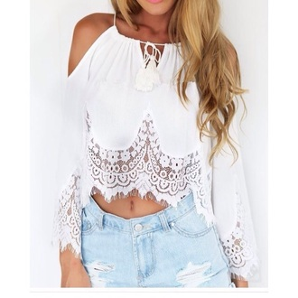 blouse white top cute women white blouse white top summer top crop tops cute top lace top white crop tops cute outfits cute shorts long sleeves off the shoulder off the shoulder top crop cropped cut out crop top lace white lace beautiful girly girl girly wishlist summer outfits summer style fashion boho shirt boho boho chic bohemian pretty dope shorts outfit outfit idea date outfit spring outfits party outfits trendy sexy denim shorts