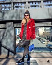 jacket,tumblr,red jacket,stars,fur jacket,dress,midi dress,black dress,tights,opaque tights,sneakers,black sneakers,sunglasses,beanie,black beanie