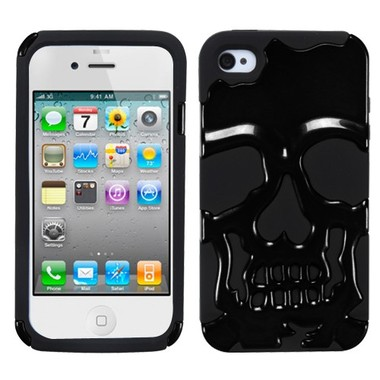 Apple iphone 4 4s black skull hybrid hard soft cover case