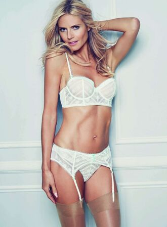 underwear heidi klum bra panties sexy lingerie white lingerie