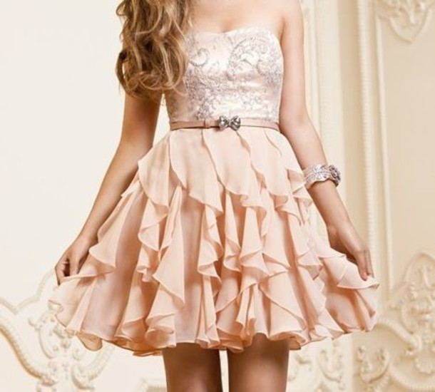 dress pink bow strapless short bustier dress ruffle gloves prom dress princess dress prom sparkles princess homecoming dress sequin chiffon sparkly ball party cute pretty glitter pink dress short dress cute dress belt bows nude