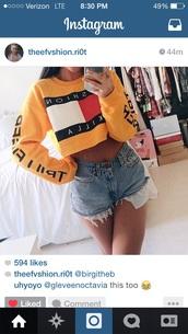 yellow,crop tops,tommy hilfiger crop top,fashion killa,tommy hilfiger,sweater,top