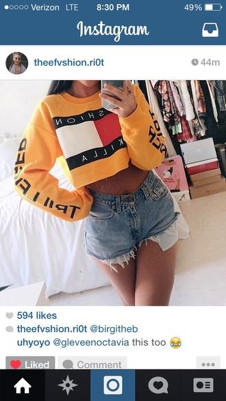 yellow crop tops tommy hilfiger crop top fashion killa tommy hilfiger sweater