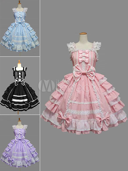 Sweet Lolita Dress JSK Rococo Pink Cotton Lace Bow Ruffled Layered Lolita Jumper Skirt