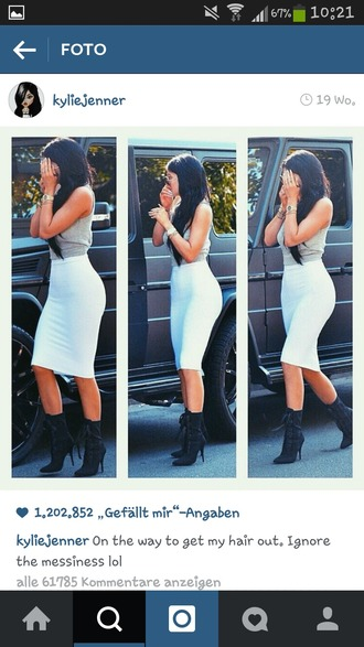 shoes kylie jenner style celebrity boots fashion summer instagram white skirt